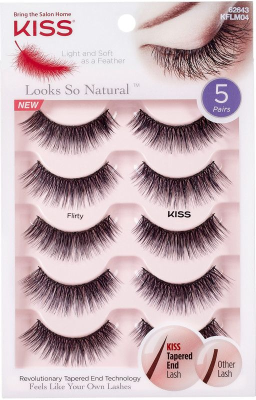 19eadbc37c1 KISS Looks So Natural, Flirty Multipack - Thickly voluminous styled with  curved, tapered ends for a sultry look.