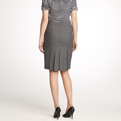 Pencil Skirt with back pleats, in gray