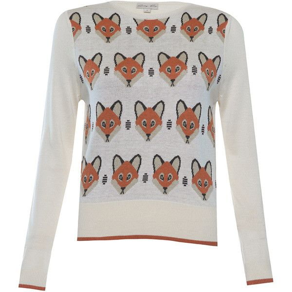 Caitie Cream Fox Sweater (£33) ❤ liked on Polyvore featuring tops, sweaters, cream, extra long sleeve sweater, cream long sleeve top, shirred top, white tops and fox sweater