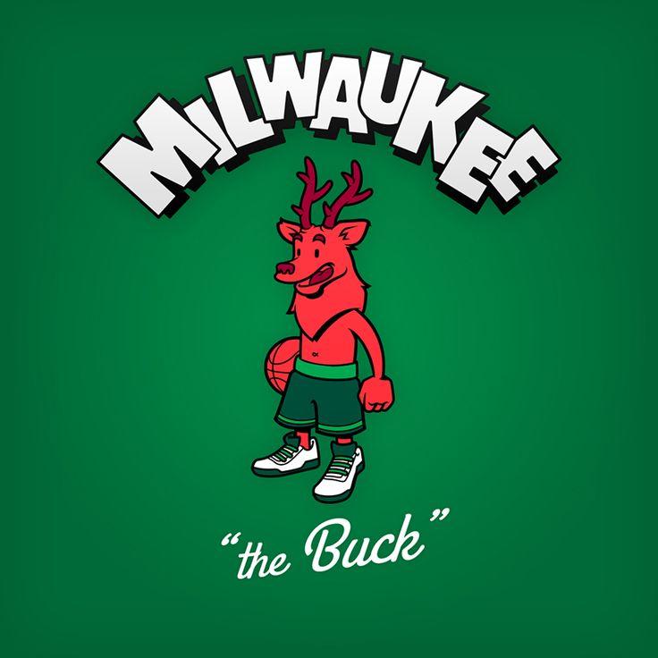 "Milwaukee ""the Buck"" design de logo NBA en personnages de dessin animés"