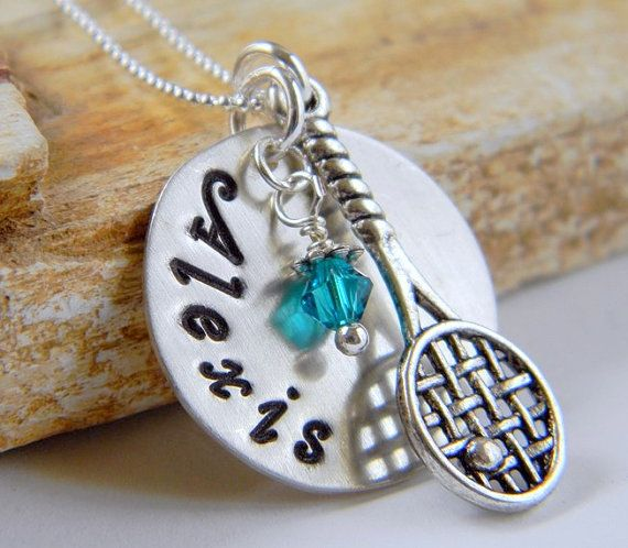 Mackenzie...Personalized Handstamped Tennis Necklace, Sterling Silver, Tennis Jewelry, Tennis Gifts, by RosesDesigns on Etsy, $35.00