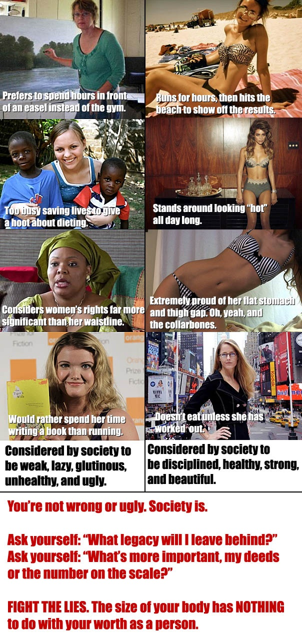 "If someone decides they'd rather spend their time creating art, helping people, or simply being with their families instead of going to the gym every free minute they can find, who are you to judge them? Who are you to condemn them for not being what you consider an ""acceptable size""? Who are you to assume them unhealthy? Studies show that people who have a little more meat on their bones are overall healthier, and live longer. why are we still striving for flat stomachs instead of enjoying life Internet Site, Inspiration,  Website, Feminist Propaganda, Body Image, Web Site, Liberal Feminist, Be Fit, Being Fit"