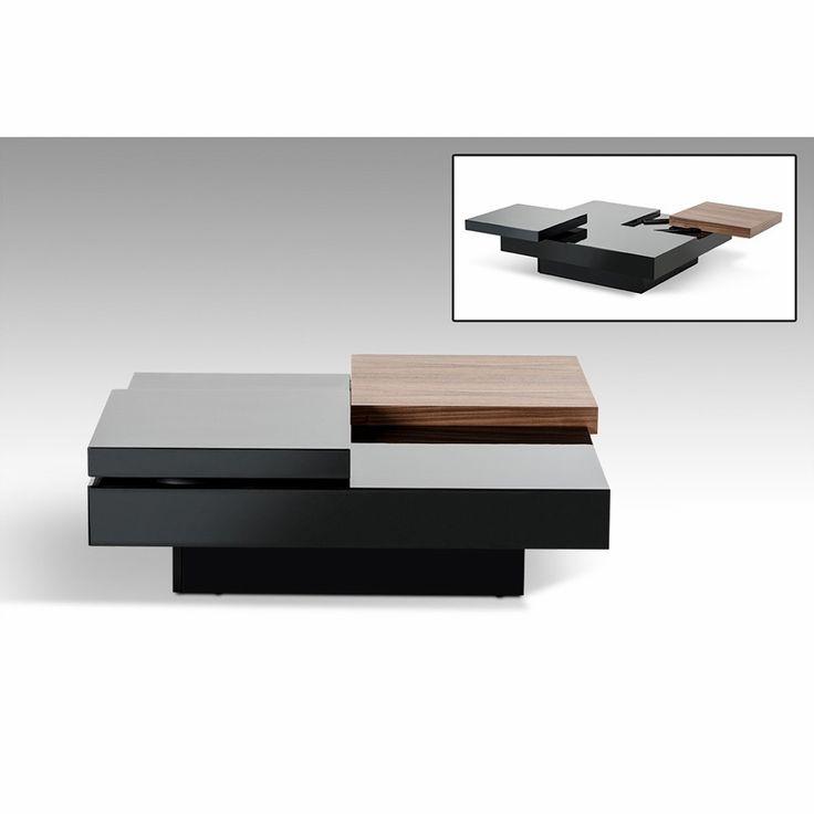 Modrest Ambry Modern Walnut and Black Coffee Table