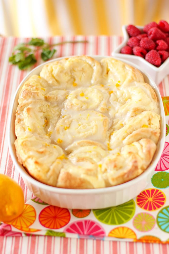 Lemon Cheesecake Morning Buns with cream cheese filling & lemon zest glaze