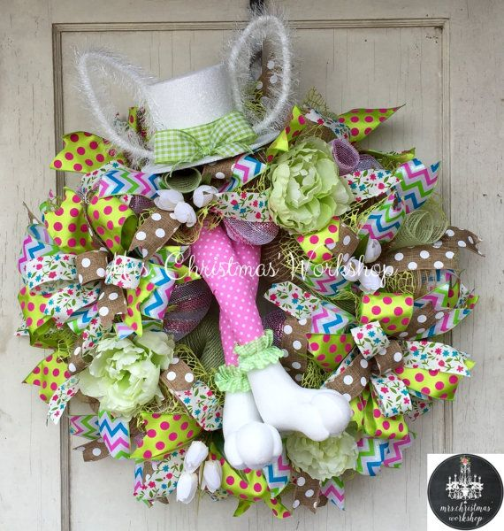 Easter wreath burlap wreath Easter Deco mesh wreath Easter bunny wreath with top hat bunny ears and bunny legs tulip wreath