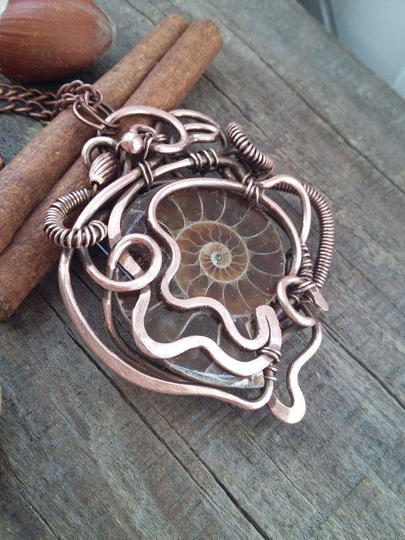 Ammoniet ketting draad gewikkeld ammonite door AlmostRealFlowersArt