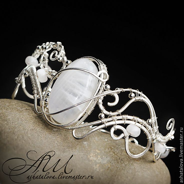 """Купить Браслет """"Забытые сны"""" (лунный камень, wire wrap) - белый, браслет, wire wrap"""