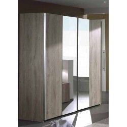 Armoire à 3 portes coulissantes avec miroir pour chambre adultes coloris chêne cuneo