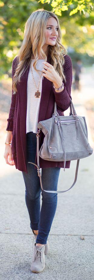 Purple cardigan, tote bag, denim and booties