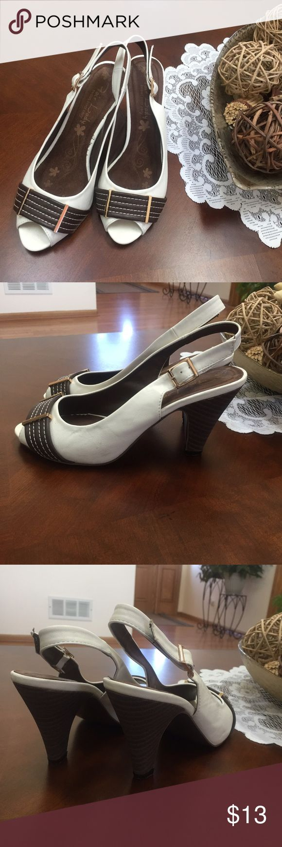 White and Brown Slingback Heeled Sandals Worn once inside * Like new * EU size 38 US size 7.5 * Fair Lady Shoes Heels