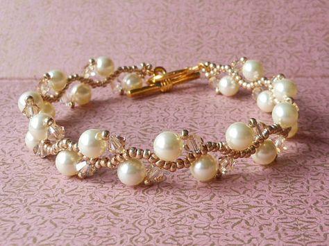 Swarovski Cream Pearl Bridal Bracelet Woven Bridal Bracelet