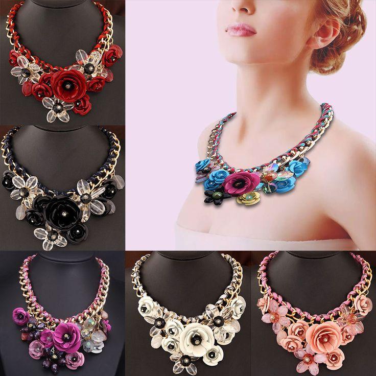 Women Fashion Chain Crystal Flower Choker Bib Chunky Statement Necklace jewelry #Unbranded #Choker