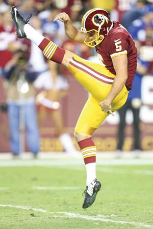Tress punted for the University of Oklahoma before being drafted into the NFL. He plays for the Washington Redskins. Courtesy Washington Redskins.