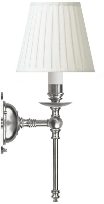 Vägglampa Ribbing i förnicklad mässing med vit skärm - Klassisk stil - Sekelskifte