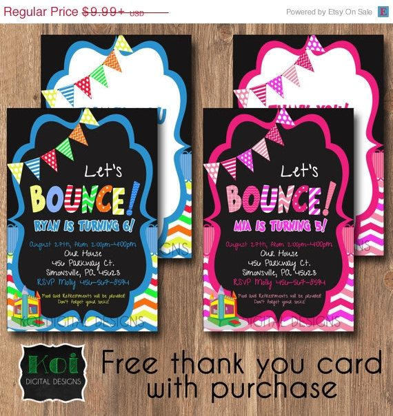 BOUNCE PARTY Invite with FREE matching thank you card. Personalized to match your party. Optional back design add on. DIGITAL DOWNLOAD, FAST DELIVERY. Bounce House Party, Bounce invitation, Bounce House Birthday Party, Let's Bounce