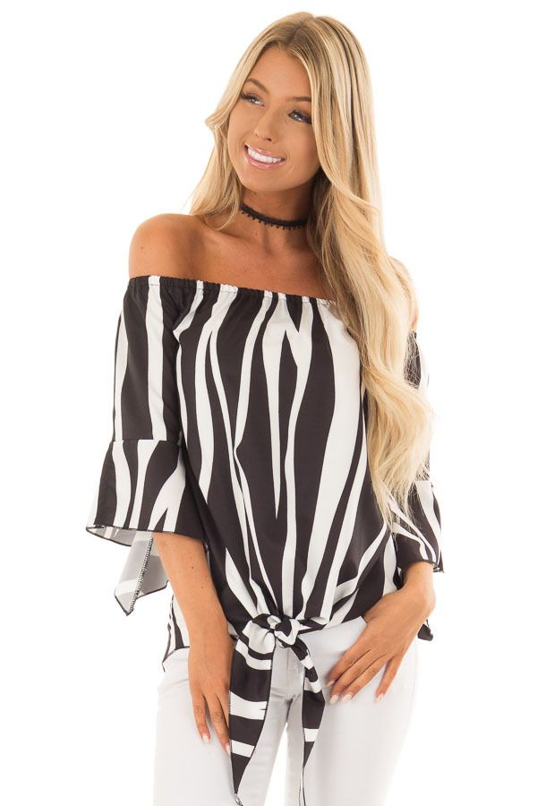 2c786d5ddf4ff Black and White Striped Off Shoulder Top with Tie Detail
