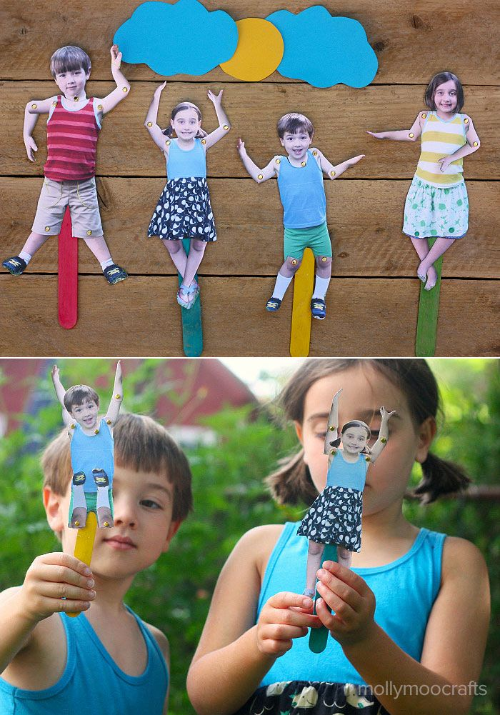 Moveable Craft Stick Puppets – of your kids!! Photograph the kids in a variety of outfits, hairstyles and of course expressions for endless story options – crafting at it's funniest! | MollyMooCrafts.com