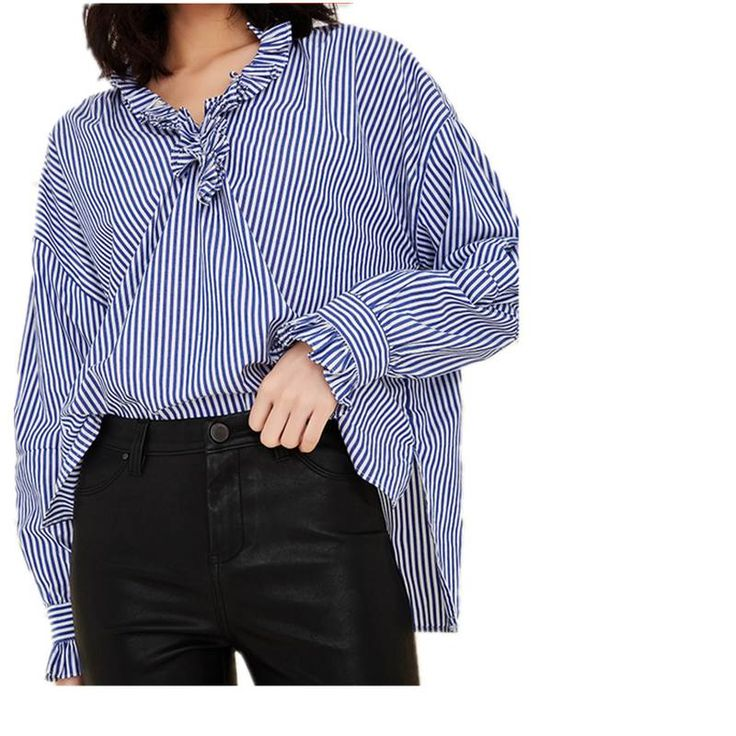 stripes blouse shirt women ruffles tops lantern sleeve oversized  2017 spring new high quality 95% cotton blue color