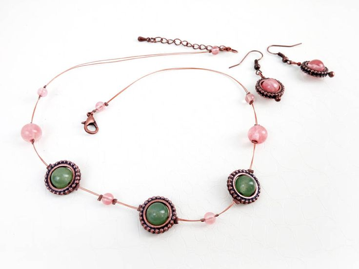 Rose quartz, green jade jewelry set by MercysFancy on Etsy