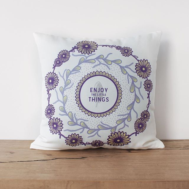 Our 'Little Things' Daisy Chain Mandala Cushion is purple & yellow perfection! Limited stock available SHOP NOW  WWW.PUDGEDESIGN.CO.NZ  #pudgedesign #enjoythelittlethings #floralmandala