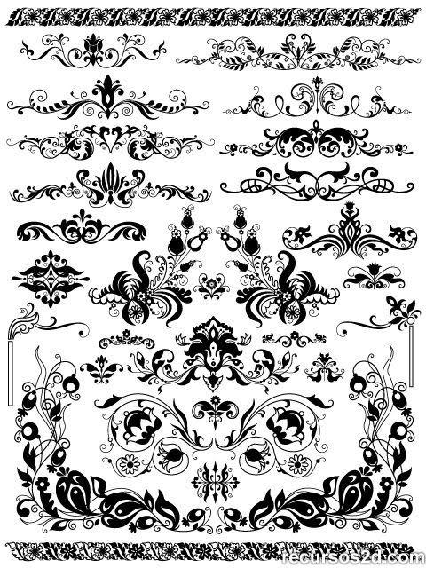 全体的に派手でダイナミックなデザインが特長。  飾り枠、飾り罫、コーナー飾りのセット。    ファイル形式:eps      ダウンロード …