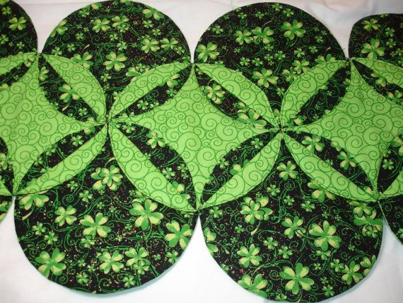 St Patrick S Day Quilt Green Clover Table Runner