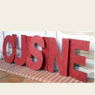 7 lettres cuisine métal rouge décoration murale | figures ... - Lettres Decoratives Cuisine