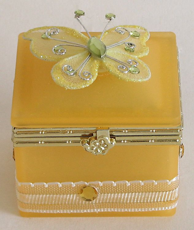 Yellow Square Jewelry Box Decorated with Butterfly on Top (Glass)