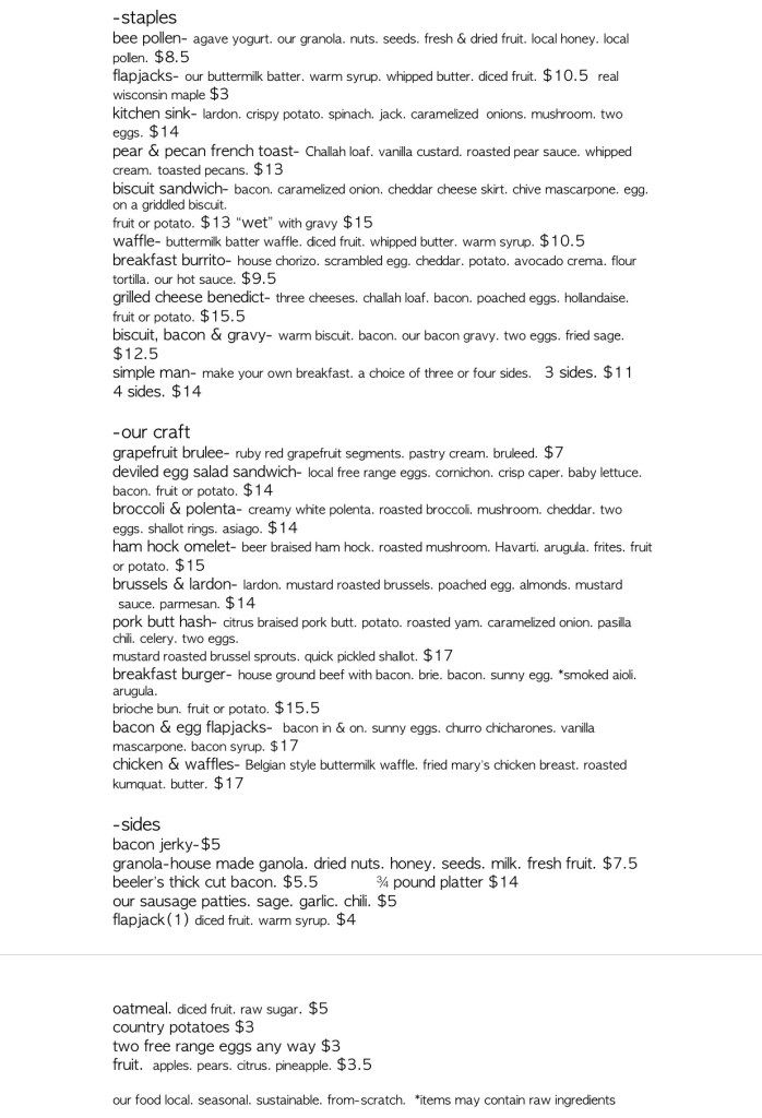 Sacramento Breakfast, Brunch and Lunch menu at bacon \ butter - auto mechanic resume sample