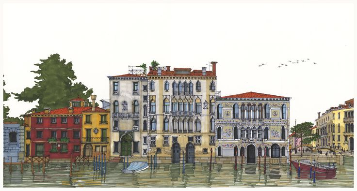 Palazzi on the Right Bank of the Grand Canal, Venice. #Venice #Grand Canal #Architecture #Art #Drawing #Prints