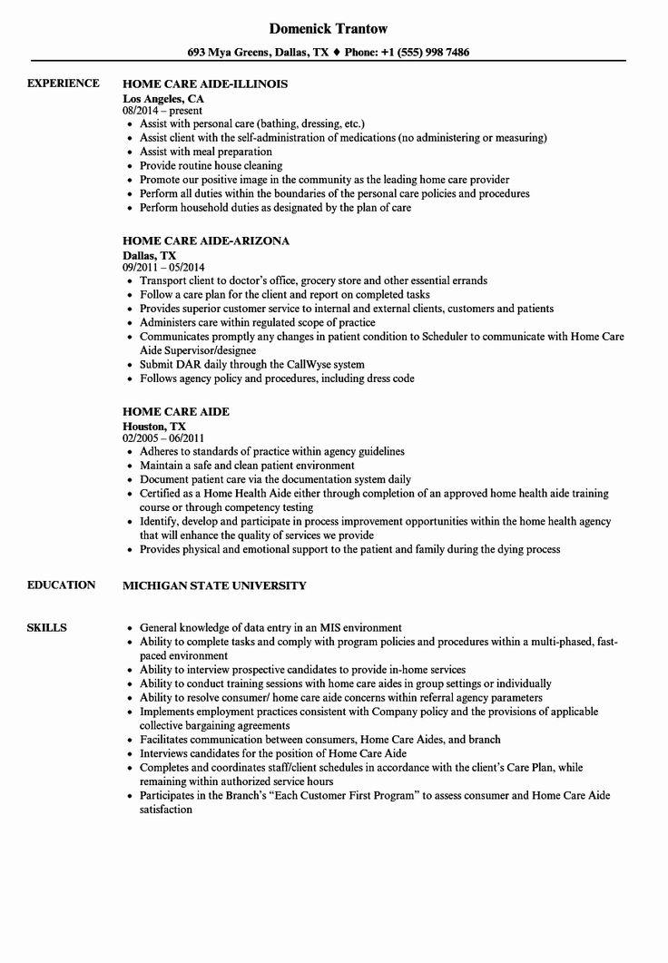 Home Health Aide Job Description Resume Unique Home Care