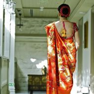 Wedding sari back & hairstyle