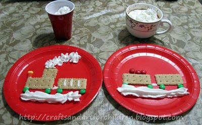 Polar Express Movie Night featuring crafts, activities, and a cute graham cracker train snack!