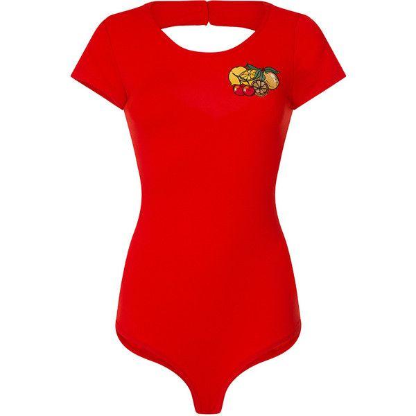 'Brandi Mae' Red Fruit Embellished Bodysuit ($16) ❤ liked on Polyvore featuring intimates and shapewear