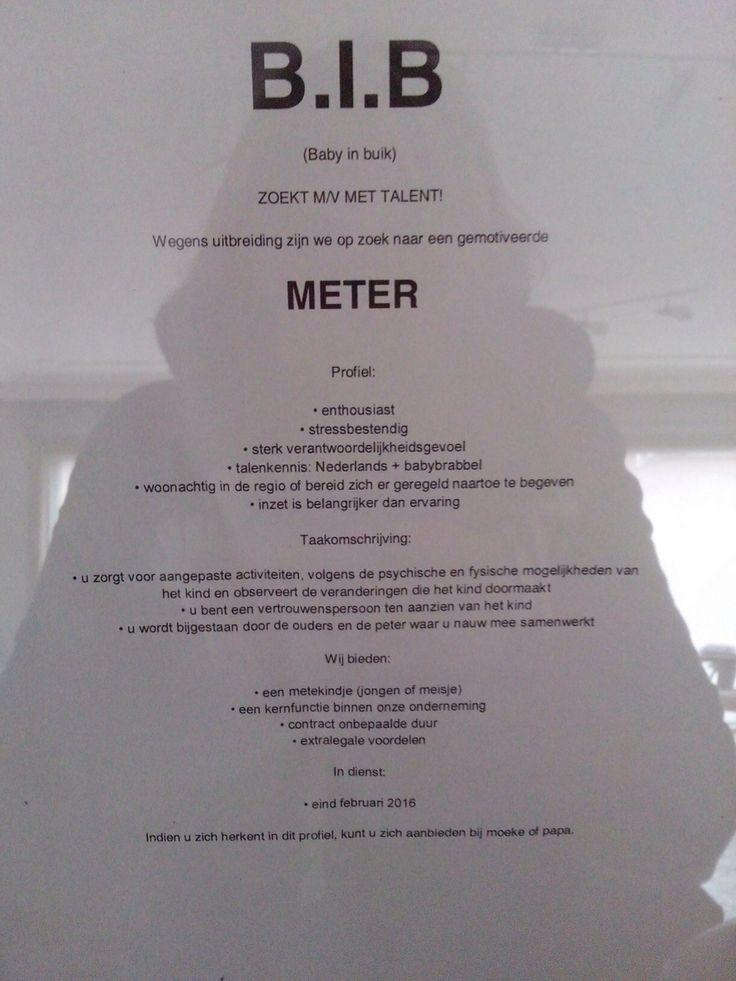 Aankondigen baby Meter/ peter vragen