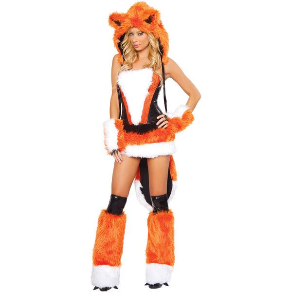 Womens Sexy Orange Cheshire Halloween Fox Costume ($35) ❤ liked on Polyvore featuring costumes, orange, adult costumes, adult fox costume, sexy adult costumes, adult women costumes and ladies halloween costumes