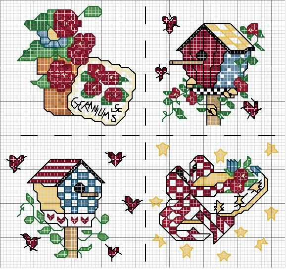 Schema punto croce Garden Pillow