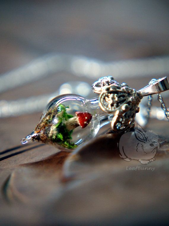 Ornate Mushroom Terrarium Necklace - Sterling Silver via Etsy
