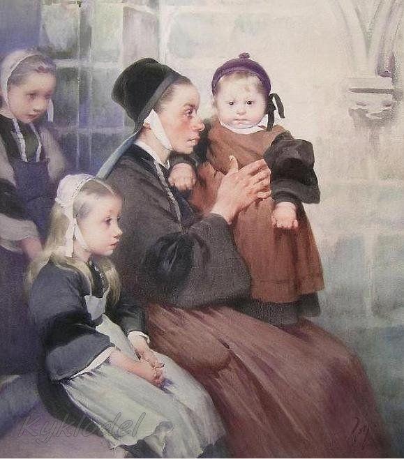"Henry Jules Jean Geoffroy (French, 1853 - 1924),  ""Enfants bretons à l'église"""