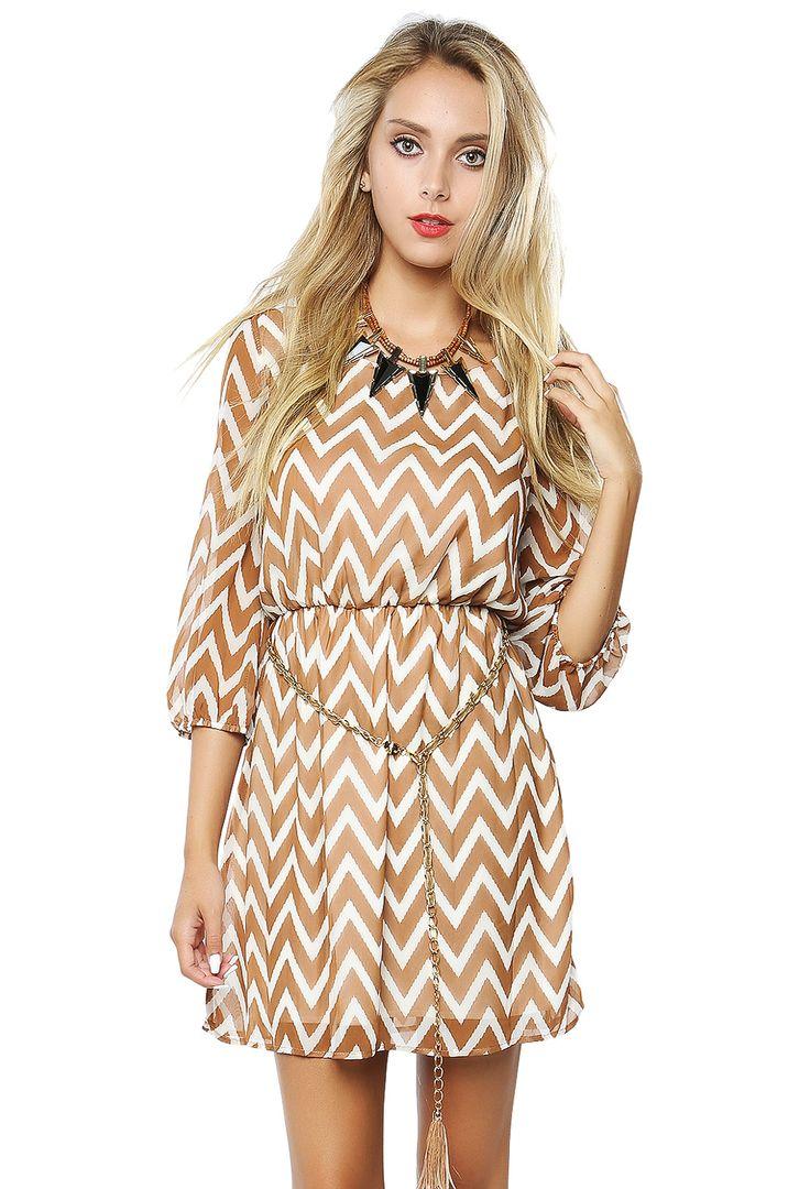Chevron Chiffon Short Dress