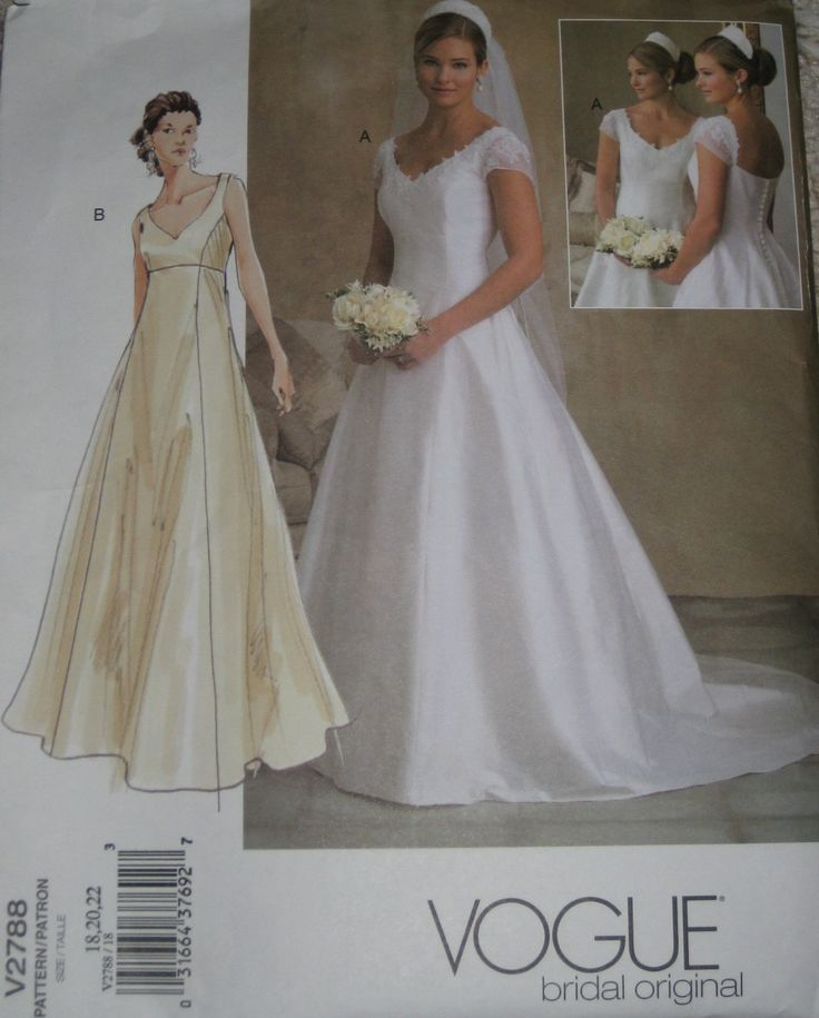 Vogue 2788 Wedding Dress Sewing Pattern Full Figure Plus Size Gown 18 20 22