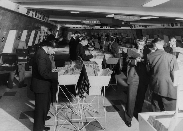 hmv 363 Oxford Street, London - Shoppers in the specialist music department mid1950s