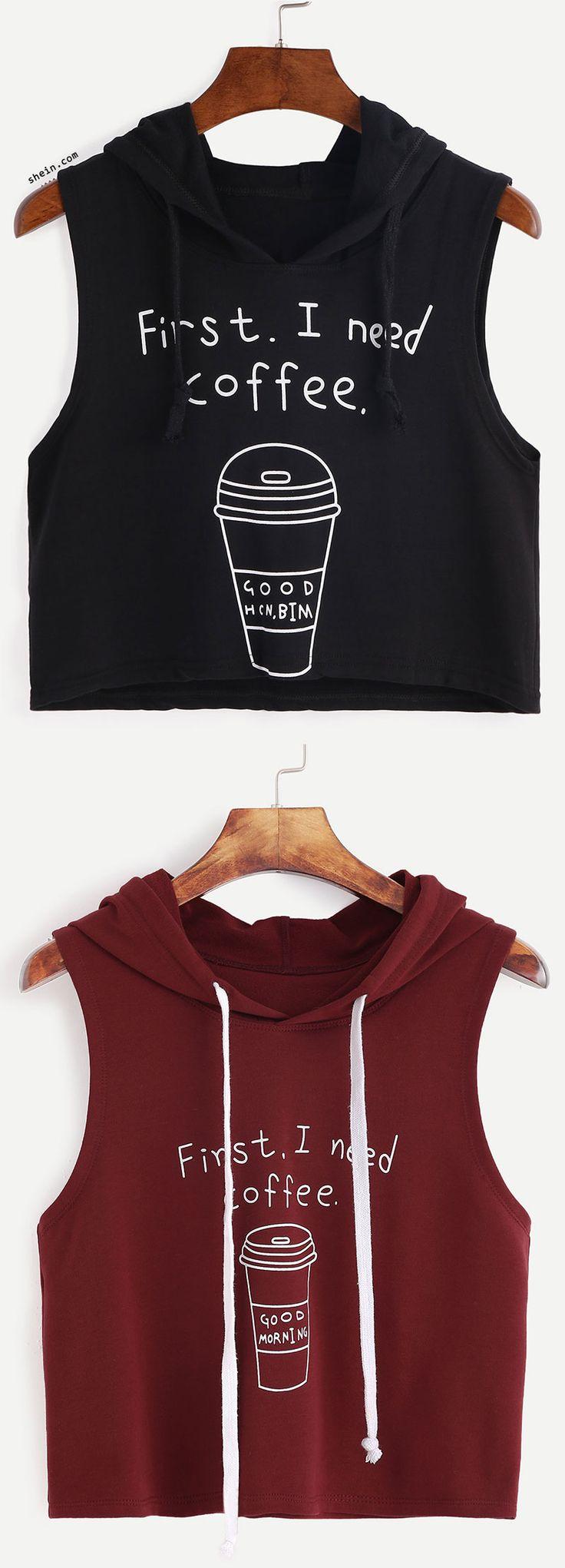 Hooded Coffee Cup Print Sleeveless Dip Hem Top