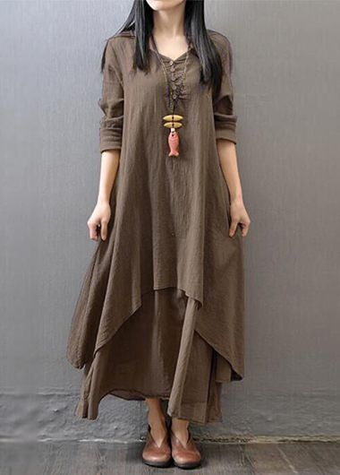 V Neck Tiered Faux Two Piece Long Dress, free shipping worldwide, check it out.