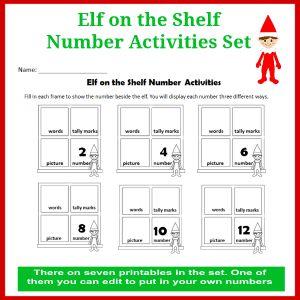 Elf on the Shelf Number Activities Set