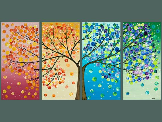 This. Is. Awesome.: Wall Art, Trees Art, Wall Decor, Idea, Treeart, Color, Trees Paintings, The Four Seasons, Art Projects