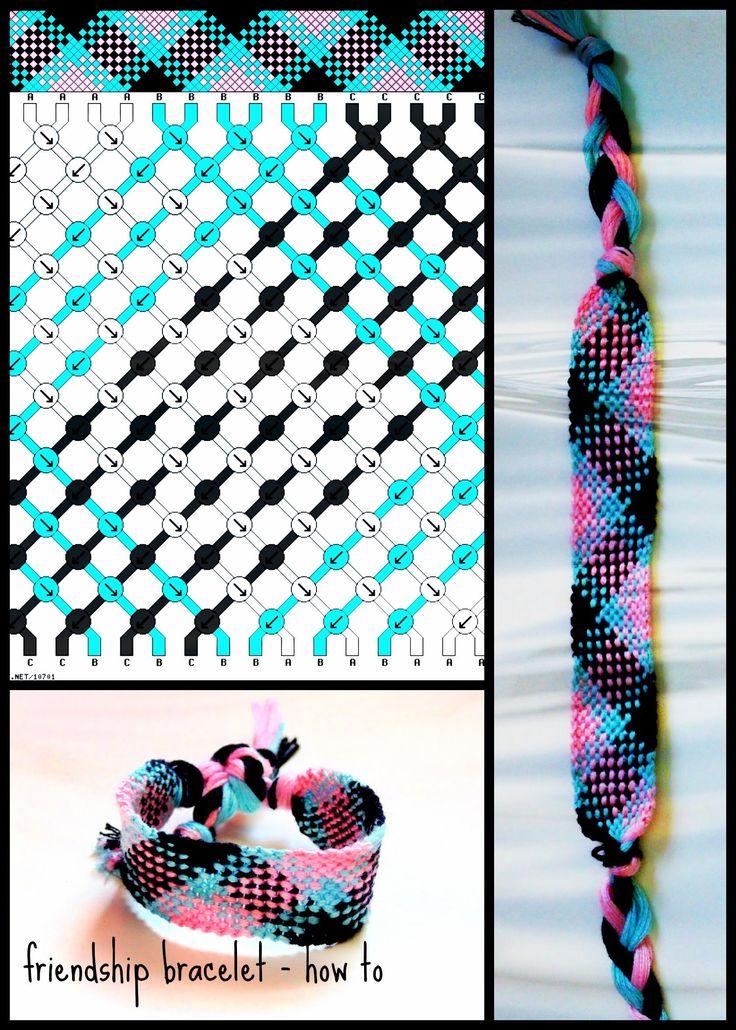pink, blue & black friendship bracelet - tutorial