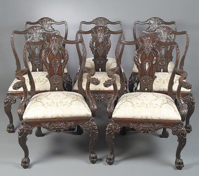 Luxuriously Carved This Wonderful Set Of Eight English Victorian Antique Dining Chairs Is Patterned After
