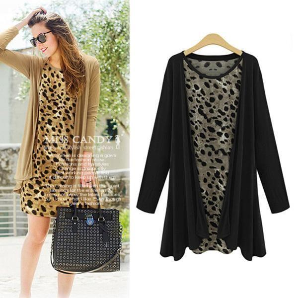 Купить товар2015 весна женщины широкий леопарда платье наряды + с длинным рукавом кардиган 2 шт. свободного покроя в категории Платьяна AliExpress.  Состояние: 100% новое и высокое качество Материал: хлопок Цвета: черный, хаки Размер: Азиатский S/M/L/XL Декольте: Crew