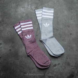 adidas Solid Crew Socks Melange Grey/ Maroon
